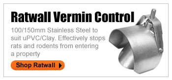RATWALL VERMIN CONTROL 100/150mm Stainless Steel to suit uPVC/Clay. Effectively stops rats and rodents from entering a property.