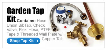GARDEN TAP KIT - Contains: Hose Union BibTap, Check Valve, Flexi Hose, PTFE Tape & Threaded Wall Plate w/ Copper Tail