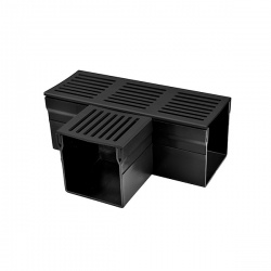 Threshold 100 Drainage Channel Tee Black Aluminium Grate